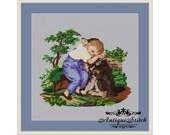 True Friend Antique Needlepoint Tapestry Boy with a Dog Berlin woolwork pattern PDF Vintage Art cross stitch Children Portrait