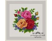 Roses Bouquet Flowers Cross Stitch Pattern PDF Antique Berlin Woolwork Pattern Victorian Flowers