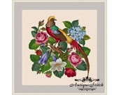 Pheasant and Flowers 1 Cross Stitch Pattern PDF Antique Needlepoint Vintage Berlin woolwork pattern Antique Tapestry Victorian Flowers