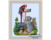 Large Antique Needlepoint Tapestry Vintage Counted Cross Stitch Pattern PDF Berlin woolwork pattern Parrot and Dog Victorian Embroidery