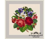 Vintage Bouquet 25 Flowers Cross Stitch Pattern PDF Berlin Woolwork Pattern Antique Needlepoint Roses Tapestry chart Victorian Flowers