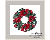 Wreath of Poppies 2 Cross Stitch Pattern PDF Berlin Woolwork Pattern Vintage Needlepoint chart Victorian Flowers