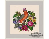 Parrot and Flowers 3 Cross Stitch Pattern PDF Antique Needlepoint Vintage Berlin woolwork pattern Antique Tapestry Victorian Flowers