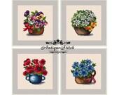 SET 4 Flowers in pots Cross Stitch Pattern PDF Berlin Woolwork Petit Point Vintage Needlepoint Poppy Pansy Daisy Cornflowers Miniature