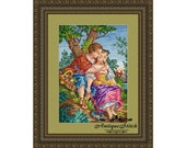 Antique Needlepoint Tapestry Music Lesson Berlin woolwork pattern Love shepherd pastoral Art cross stitch PDF People Romantic couple