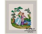 Antique Needlepoint Tapestry Girls Cross Stitch Pattern PDF Berlin woolwork pattern Lady Vintage Miniature Antique Tapestry