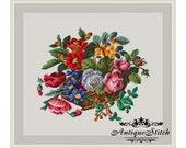 Basket of Flowers Cross Stitch Pattern PDF Berlin Woolwork Pattern Vintage Needlepoint chart Victorian Flowers