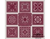 Sampler Red Square 2 Cross Stitch Pattern PDF Geometric Ornament Modern Carpet Pillow Vintage Pattern Monochrome Instant Download PDF