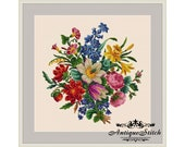 Vintage Bouquet 29 Flowers Cross Stitch Pattern PDF Berlin Woolwork Pattern Antique Needlepoint Roses Lily Tapestry chart Victorian Flowers