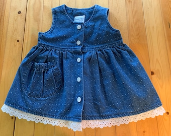 18mo 24mo Jean Dress  Front Opening  White Eyelet lace at hemline  Front with five buttons  skirt gathers into flat tunic top  pocket