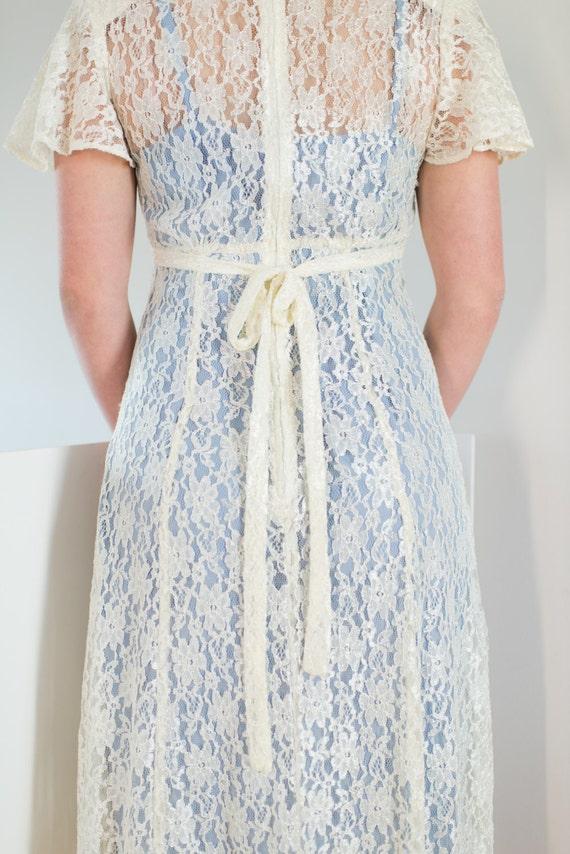 80s Retro Vintage 20s Lace Dress / Separate Under… - image 5