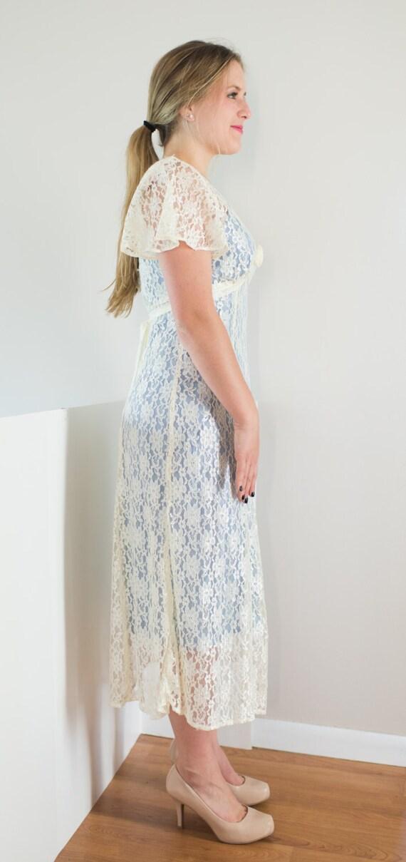 80s Retro Vintage 20s Lace Dress / Separate Under… - image 3