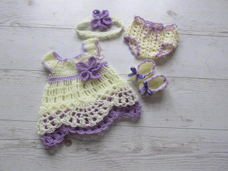b3bb8ad9333a5 Crochet baby dress diaper cover pattern headband pattern | Etsy