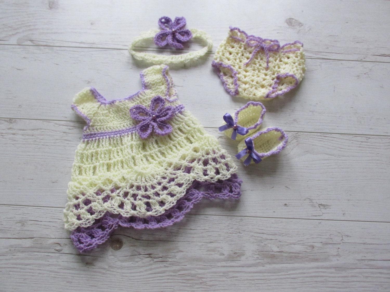 Crochet Baby Dress Diaper Cover Pattern Headband Pattern Etsy