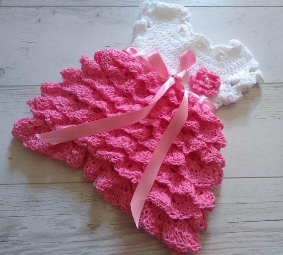 Dress Crochet Pattern Ruffle Baby Dress Diy Instant Etsy