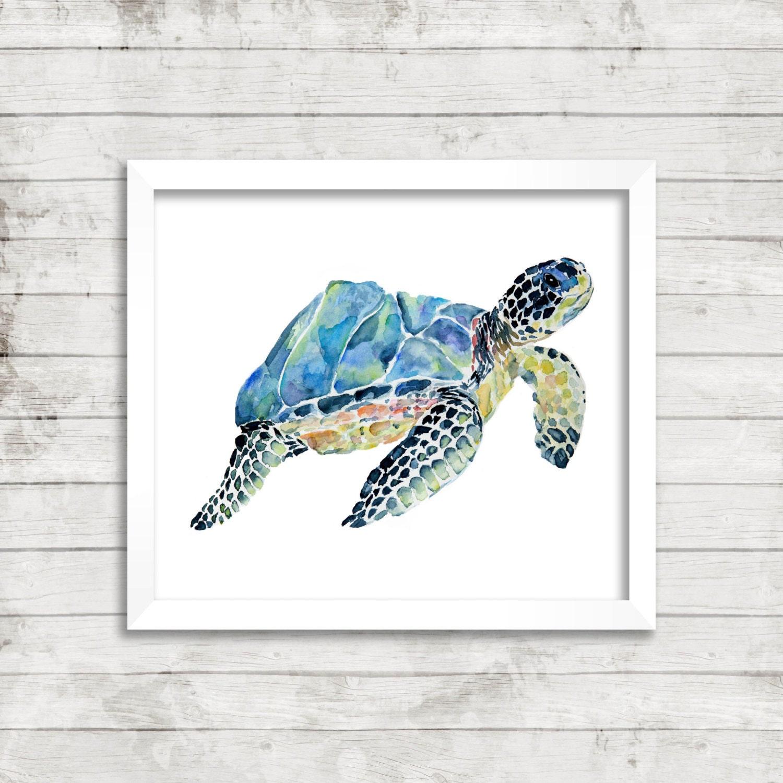 Sea Turtle Watercolor Print. Turtle Art. Turtle Illustration.   Etsy