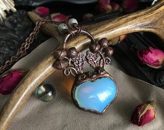 Copper pendant electroformed heart opalite - tree - Enchanted Forest - witchy - nature - acorn - squirrel - forest