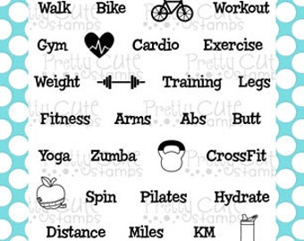 "Fitness Planner 4x6"" Clear Photopolymer Stamp Set"