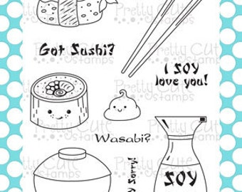 "Got Sushi? 4x6"" Clear Photopolymer Stamp Set"