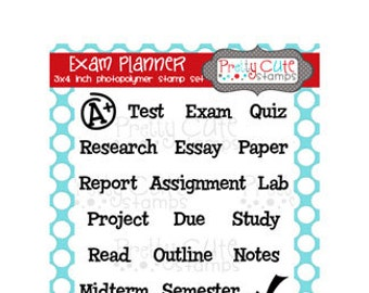 "Exam Planner 3x4"" Clear Photopolymer Stamp Set"