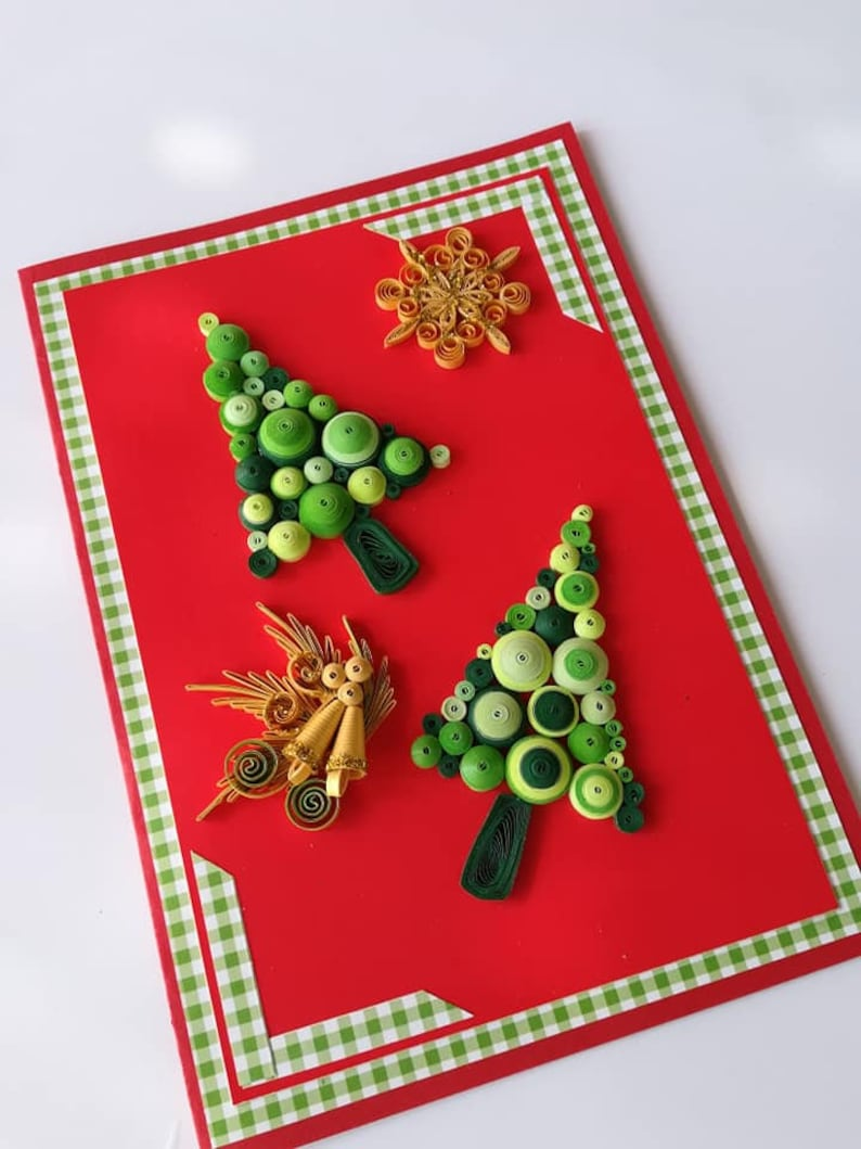Paper Quilling Christmas Tree Card Greeting Xmas Paper Crad Merry Christmas Handmade Crads Holiday Seasonal Quilled Cards Unique Present