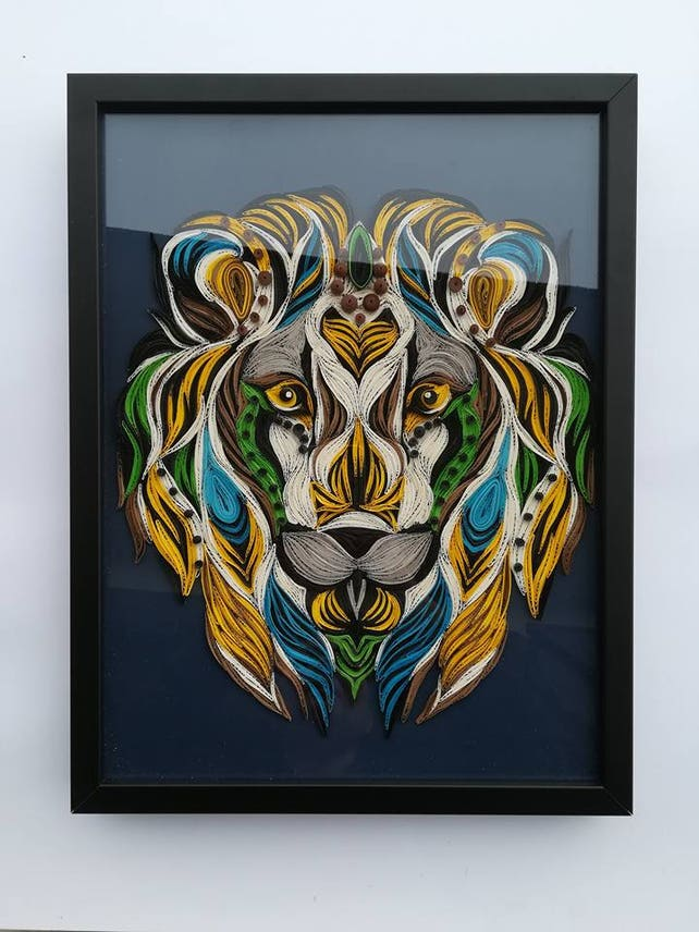 Lion King Face Quilling Paper Art Colorful Wolf Animal Etsy