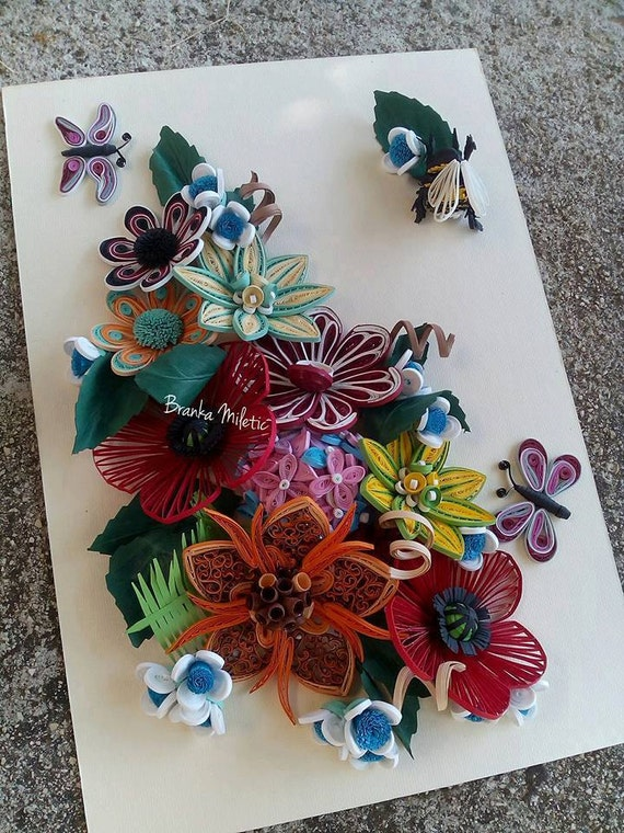 Quilled paper flowers beautiful multicolor arrangement of etsy image 0 mightylinksfo
