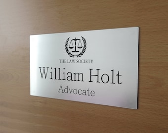 Custom Engraved Wall Name Plate, Office Sign, Personalised Door Plate, Plaque, Business Name Sign, Home Sign, Self Adhesive Back Side.