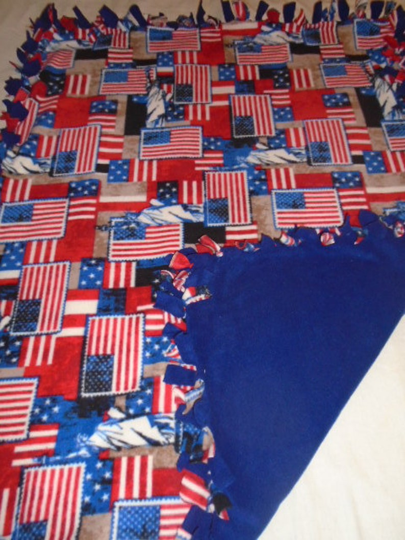Brand New Red White and Blue American Flag with Statue of Liberty Double Sided Hand Tied No Sew Fleece Rag Blanket