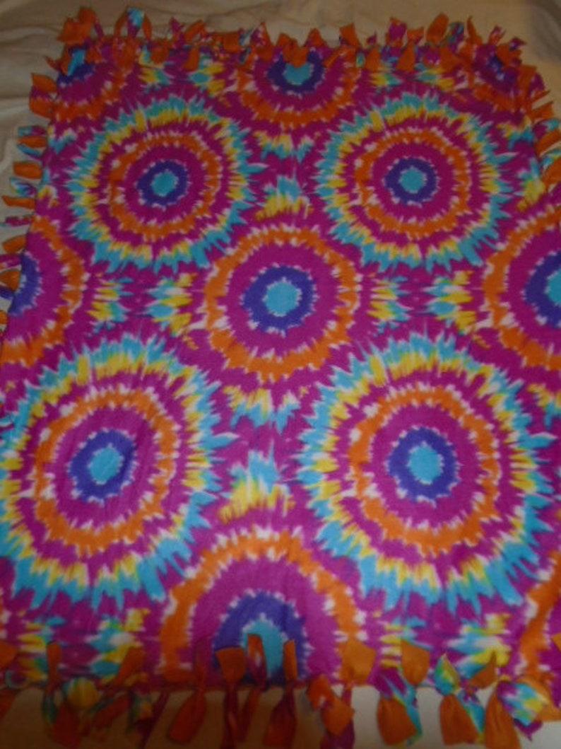 Brand New Rainbow Colored Tie Dye Hippie Double Sided Hand Tied No Sew Fleece Rag Blanket