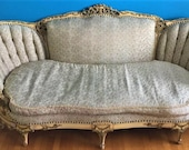 1900 39 s Antique FRENCH CARVED Couch, Settee Tufted Louis xv Ornate Rococo Baroque Louis xvi Sofa Loveseat pickup ONLY Victorian