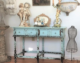 SALE!!   French Console~ROBIN EGG Blue~Vintage~Chippy~Shabby Chic Architectural~table~desk~bathroom~boudoir