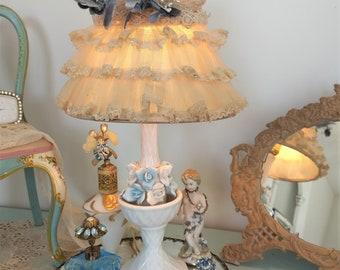 Vintage Table Lamp~Porcelain Robin BLUE Barbola Roses~French Chic Brocante