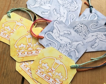 9 gold and silver English hallmark design gift tags, 4 crowns, 5 lions