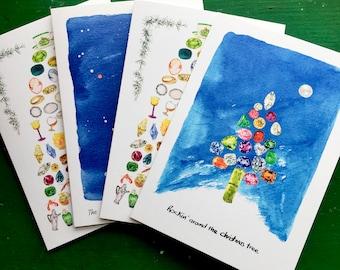 Christmas gems Christmas card set of 4 , Christmas tree, Orion, and 12 days of Christmas x2