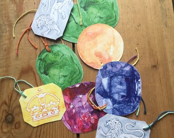 9 gemstone card gift tags set with variegated string ties  emerald coral ruby silver hallmark gold hallmark