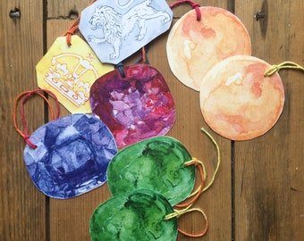 8 gemstone card gift tags set with variegated string emerald coral ruby silver hallmark gold hallmark