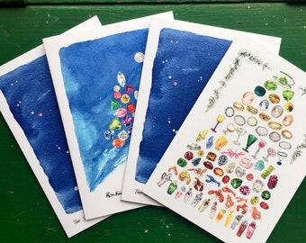 Christmas gems Christmas card set of 4. The 12 days of Christmas, Rockin' around the Christmas Tree, and Orion x2