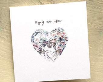 Wedding day heart diamond congratulations Happily ever after card