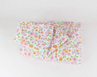 Vintage bedding from the 70s, cover for 1 duvet and 1 pillow cover, bedlinen, Duzet cover, floral pattern