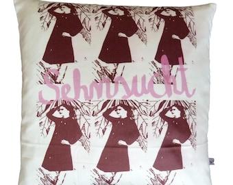 "Pillowcase ""Longing"" 40 x 40 cm, pillowcase with photo collage, Cushion cover, pillow, pillowcase"