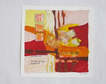 Art collage on paper-original painting on paper, abstract art