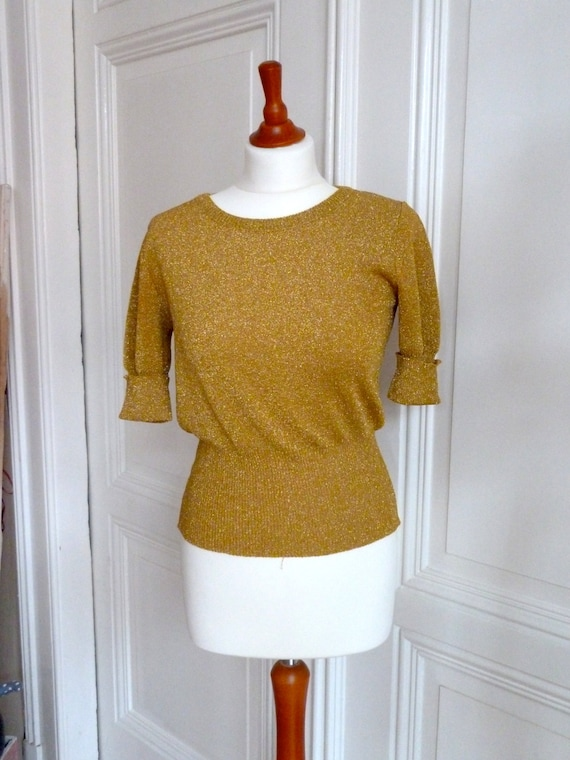 Paco Rabanne Lurex Pullover, Kurzarmpulli, knit sw