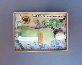 Art collage box / mixed media collage / assemblage of art box