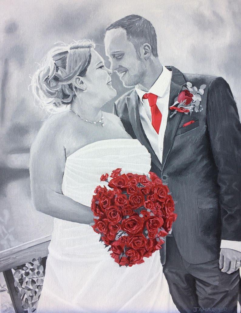 Portrait commission original oil painting wedding gift image 0