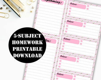 Homework Printable Digital Download // Erin Condren Printable / Planner Instant Download / Planner Insert Digital Download 00055