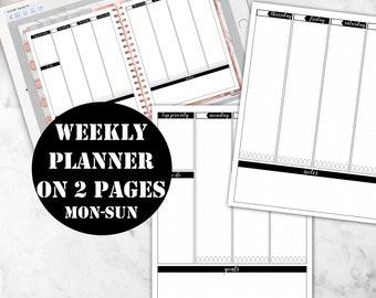 Mon-Sun Weekly Planner Printable Digital Download, GoodNotes Planner Insert Week on 2 pages, Good Notes Digital planner notebook 00150