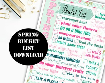 Spring Bucket List Printable Digital Download // Erin Condren Printable / Plum Paper Printable / Planner Insert Digital Download 00138