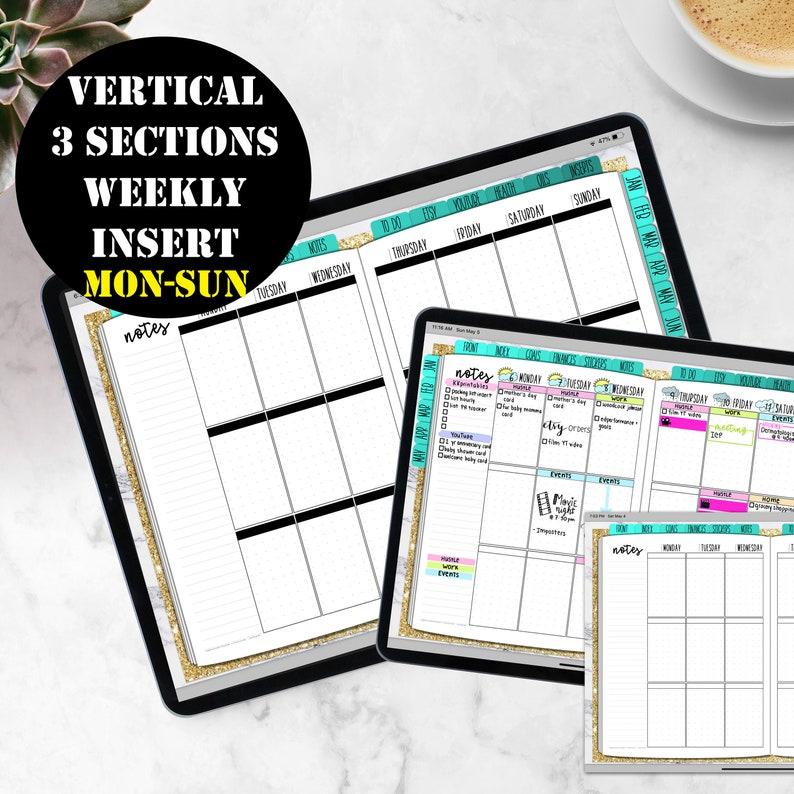 Mon-Sun Vertical Weekly Planner Printable Digital Download image 0