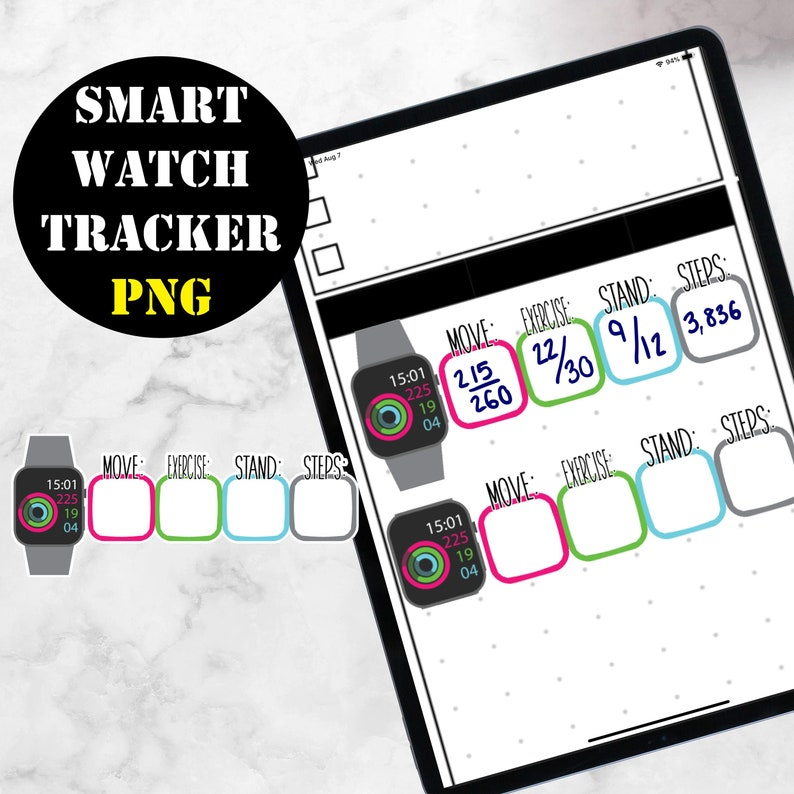 2 Smart watch tracker Digital Stickers for GoodNotes or for image 0